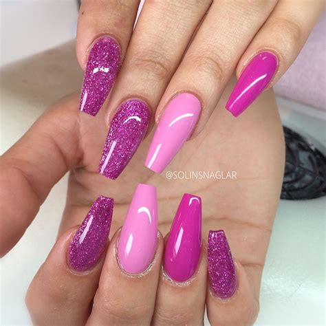Pink + Fuchsia + Purple Glitter. Long coffin nails. #nail #nailart | ballerina nails | Pinterest ...