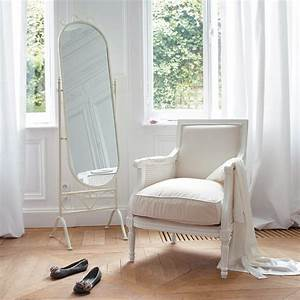 miroir psyche en metal blanc h 167 cm montsegur maisons With psyche maison du monde