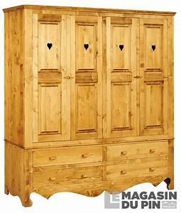 Armoire En Pin Massif : armoire avec coeurs en pin massif chamonix le magasin du pin ~ Teatrodelosmanantiales.com Idées de Décoration