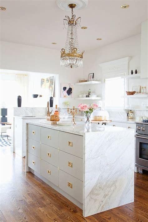marble waterfall island eclectic kitchen bijou