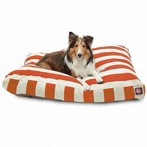 Majestic, Pet, Vertical, Stripe, Rectangle, Dog, Bed, Treated, Polyester, Removable, Cover, Burnt, Orange