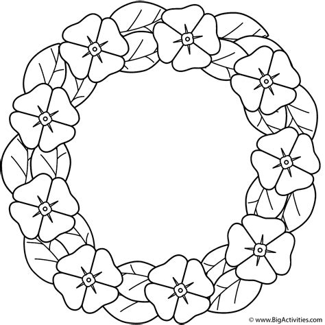 poppy wreath coloring page anzac day