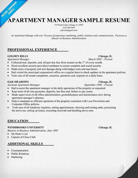 apartment manager resume sample work job resume
