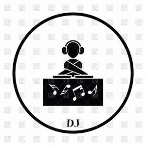 Thin Circle Design Of Night Club Dj Icon Vector Image  U2013 Vector Artwork Of Silhouettes  Outlines