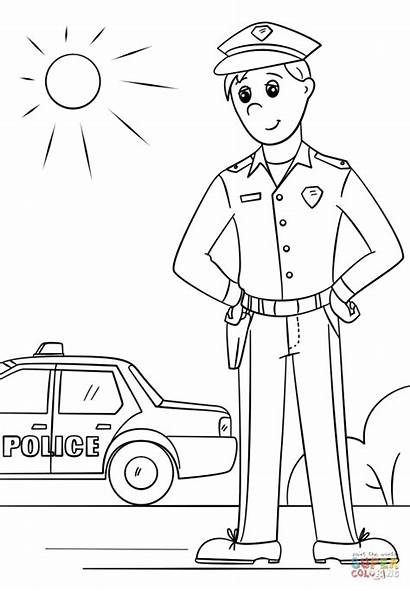 Coloring Pages Police Law Enforcement Printable Sheet