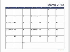 Free Download Printable March 2019 Calendar with Holidays