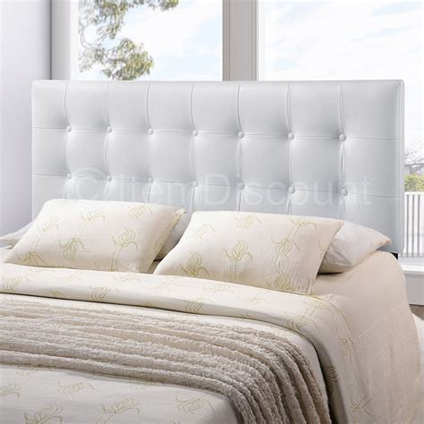 Upholstered Headboards by White Button Tufted Leatherette Vinyl Upholstered