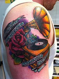 Gramophone and quote tattoo - TattooMagz