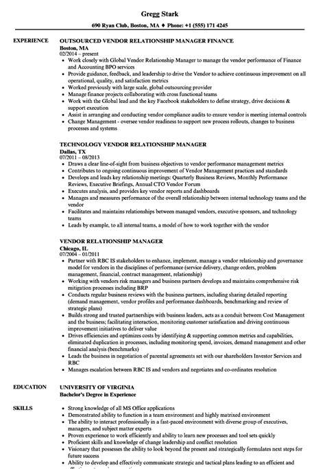 Vendor Development Manager Resume by Vendor Relationship Manager Resume Sles Velvet