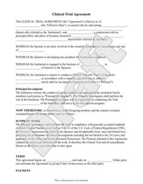 Clinical Trial Contract Template by Templates On Pinterest