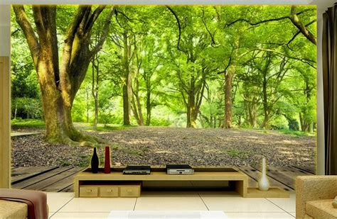 3d Green Nature Wallpaper by Custom 3d Photo Wall Mural Landscape Green Forest Tv