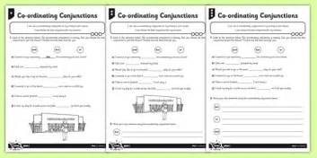 coordinating conjunctions differentiated worksheet
