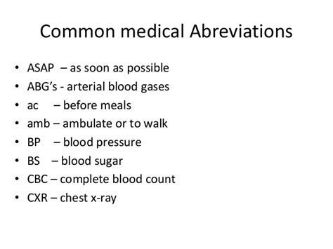 Hyper In Medical Terminology Abbreviations