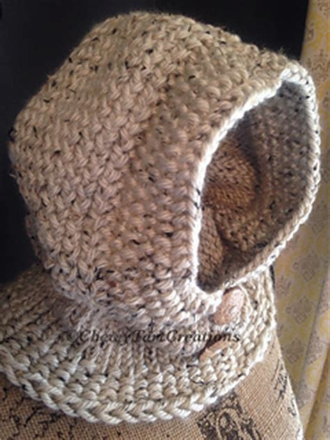 ravelry adult cozy hooded cowl loom knit pattern  chewy