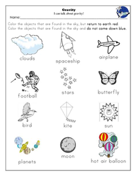 of gravity worksheet gravity unit and worksheets kindergarten by buzz worthy