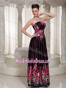 00 Size Chart Strapless Ankle Length Printed Graduation Ceremony Dresses