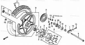 Honda Motorcycle 1986 Oem Parts Diagram For Rear Wheel