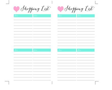 Printable Shopping List Pdf Filofax Personal Size