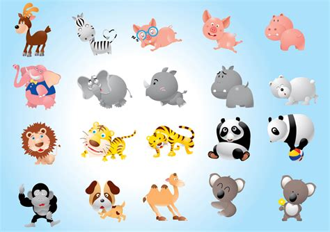animal cartoons pack vector art graphics freevectorcom