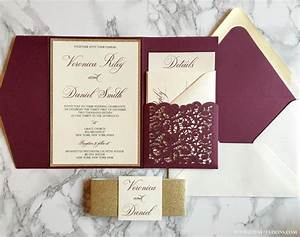 laser cut pocket wedding invitation burgundy and gold glitter With exquisite laser cut white pocket wedding invitations