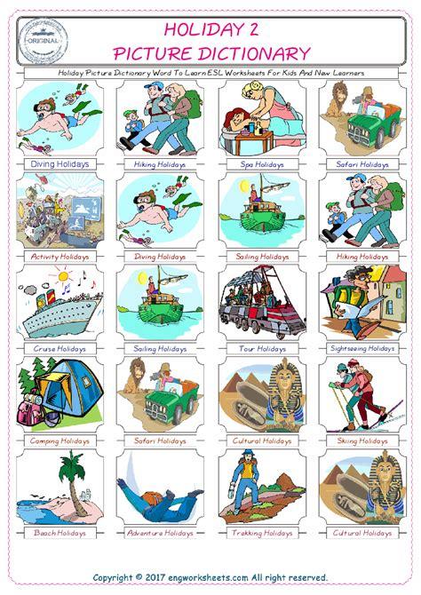 holiday esl printable english vocabulary worksheets