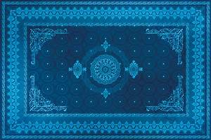Tableau oriental tapis motif bleu decoration orientale for Tapis oriental bleu