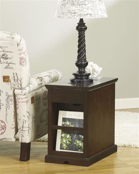 chair side  table  power outlets pull  shelf