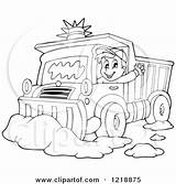 Snow Plow Coloring Pages Truck Clipart Plough Driver Waving Illustration Outlined Happy Royalty Visekart Vector Printable Getcolorings Circle Retro sketch template