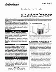 American Standard Installer S Guide Air Conditioner  Heat
