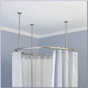Round shower curtain rod for corner shower chairs home for Bathroom curtain poles