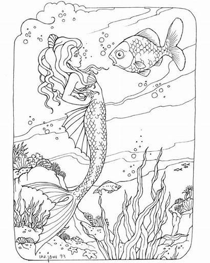 Mermaid Coloring Pages Realistic Adults Mermaids Printable