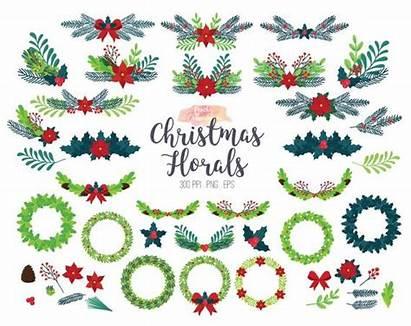 Christmas Floral Clipart Holiday Flower Wreath Clip