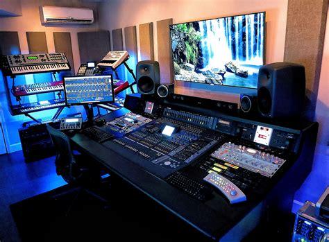 home studio mixing desk in the studio with richard devine headphone commute
