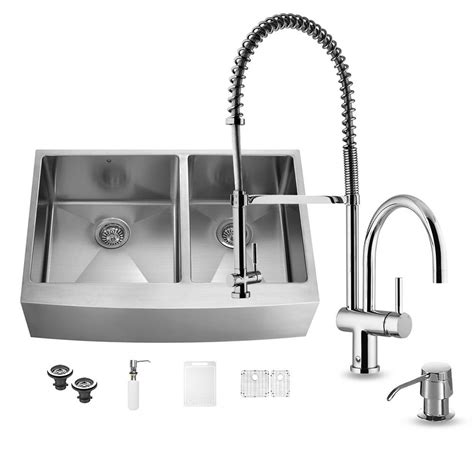Stainless Steel Kitchen Sinks And Faucets by Vigo All In One Farmhouse Apron Front Stainless Steel 36