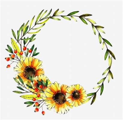 Wreath Clipart Watercolor Yellow Sunflower Drawing Flower