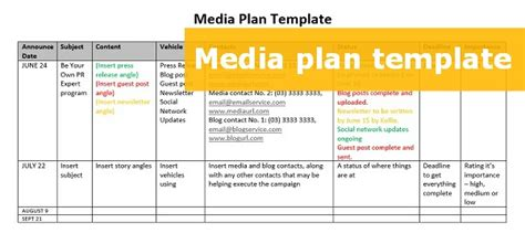 media plan template a free downloadable media plan template to step up your pr effort kellie o brien media