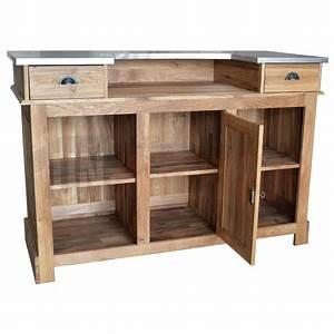 Plateau En Chene Massif : meuble bar en ch ne massif de 160cm plateau en zinc ~ Teatrodelosmanantiales.com Idées de Décoration