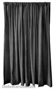 Custom Made Rod Pocket Top Drape Solid Black Velvet 120