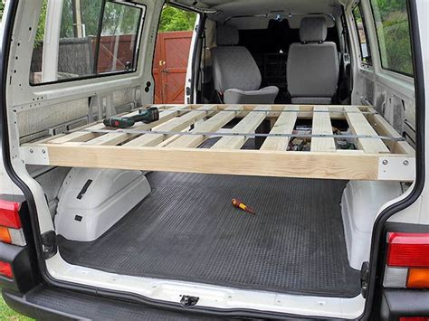 bed frame  permanent  camper van conversion diy