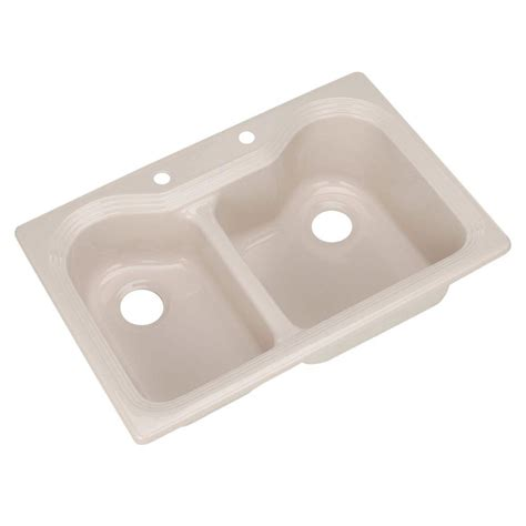 beige kitchen sink thermocast breckenridge drop in acrylic 33 in 2 1574