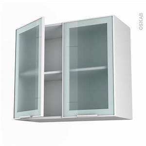 Meuble Haut Cuisine Vitré : meuble de cuisine haut ouvrant vitr fa ade blanche alu 2 portes l80 x h70 x p37 cm sokleo oskab ~ Teatrodelosmanantiales.com Idées de Décoration