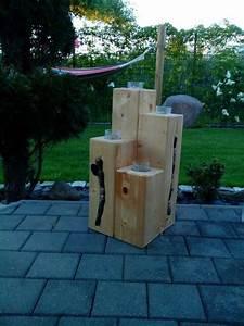 Säulen Aus Holz : dekoration f r terrasse aus holzbalken gefertigt steine eingeklebt und teelichter eingearbeitet ~ Orissabook.com Haus und Dekorationen