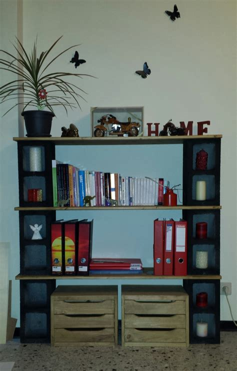 My 1st Handmade Bookshelf; Cinder Blocks & Wood Love The