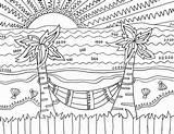 Landscape Coloring Sunset Printable Realistic Adults Animals Tags sketch template