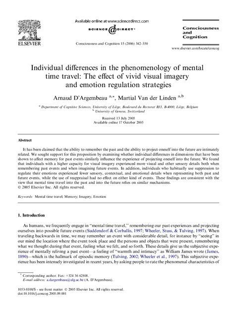 دانلود مقاله :تفاوت های فردی در پدیدارشناسی سفر ذهنی در زمان: اثر