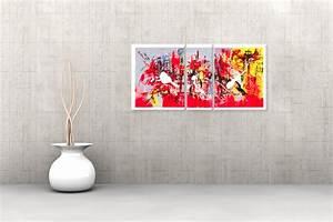 Tableau Coloré Moderne : triptyque contemporain festive evening rouge gris rectangle ~ Teatrodelosmanantiales.com Idées de Décoration