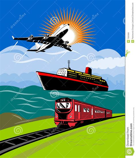 Trains And Boats And Planes by Plane Boat Ship Stock Vector Illustration Of