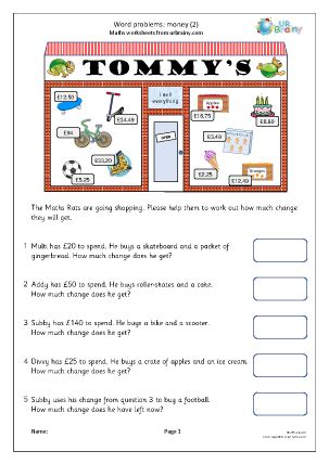 word problems money  measuring  time worksheets