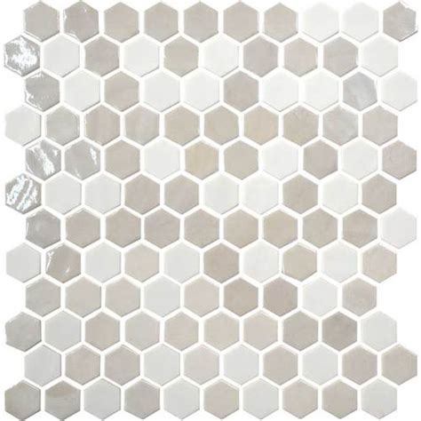 daltile uptown glass mosaics hexagon alabaster wall up17