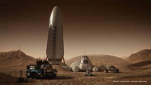 SpaceX spaceship at Mars base by Bryan Versteeg | Mars ...
